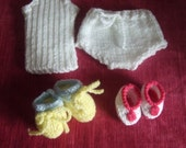 "14"" Dolls 8 piece set Hand Knitted. Vest, knickers, 2 pairs of bootees, 2 bonnet & bootee sets. First Annabell Doll, Teeney Tiny Tears"