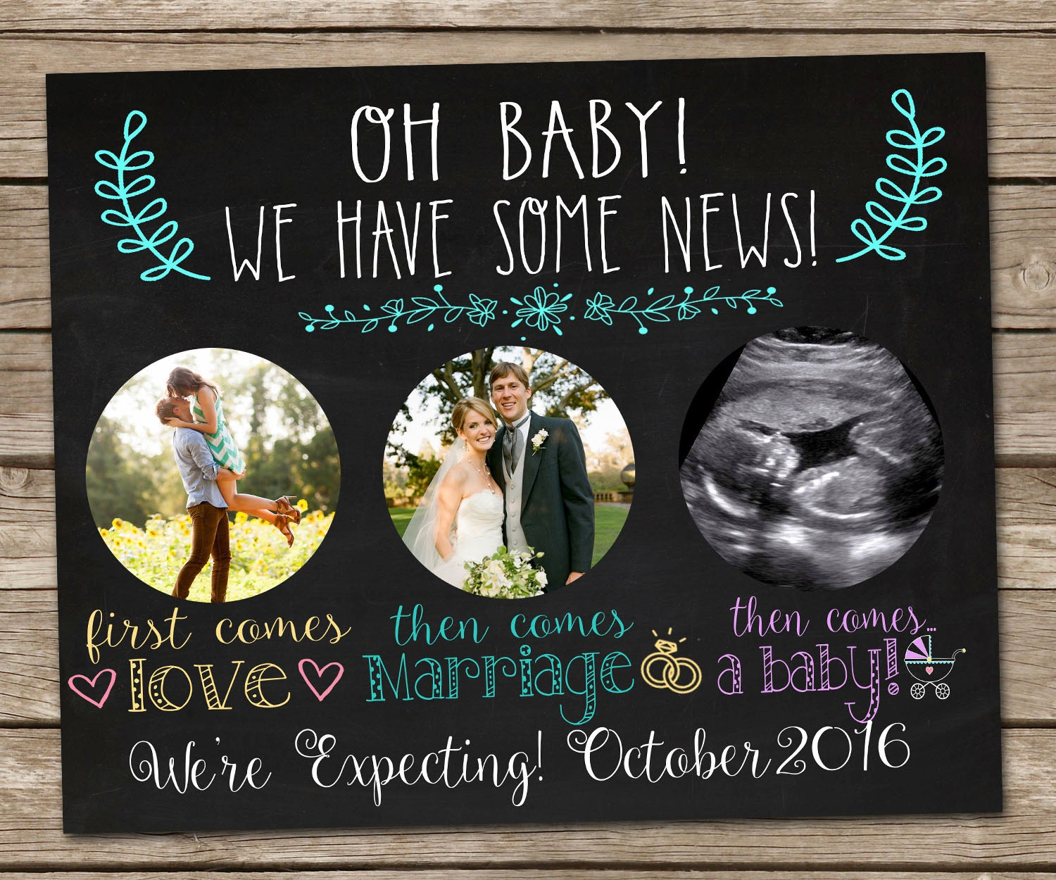 printable chalkboard pregnancy announcement sign digital file. Black Bedroom Furniture Sets. Home Design Ideas