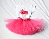 HOT PINK CHEVRON Party Birthday Girl Set - 3d Cupcake Onesie and Tutu Skirt - 1st 2nd 3rd 4th 5th Birthday