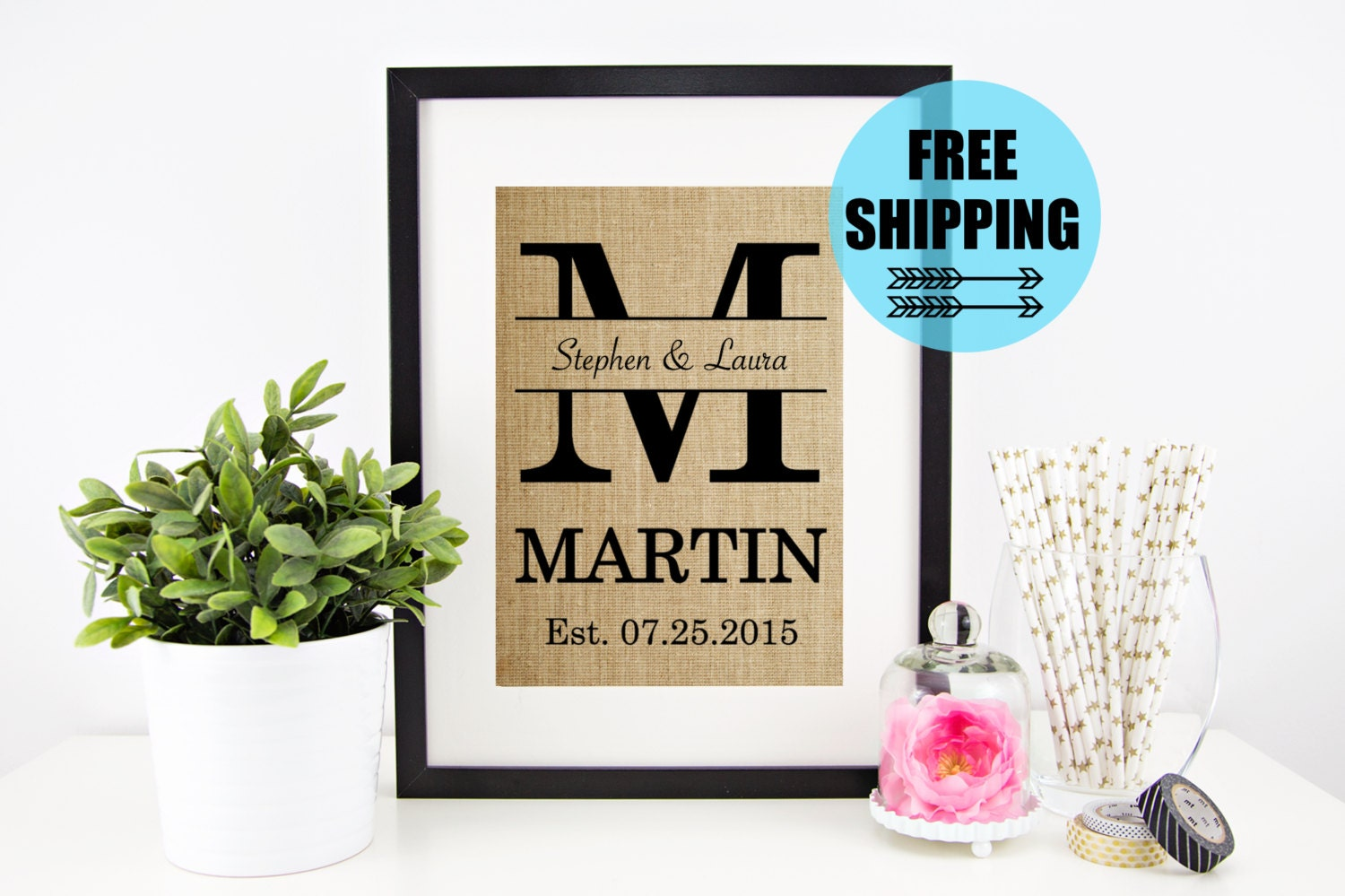 Monogrammed Wedding Gifts For Couple : ON SALE Personalized Wedding Gift for Couple Bridal Shower