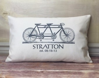 Tandem Bicycle Pillow, personalized Lumbar Pillow, Romantic Pillow, Wedding Gift Pillow, Oblong Pillow, Valentine Gift, Husband Wife Gift