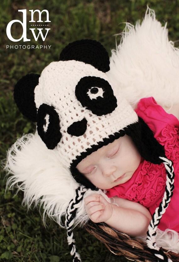 Crochet Panda Bear Earflap Hat with Tassels, photo prop, baby photography, panda beanie