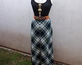 70s Long Plaid Skirt, Plaid Maxi Skirt, Green Maxi Skirt, Green Plaid Skirt, Long Wool Skirt, Conservative, Preppy, Unique Skirt