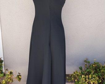 Vintage Long Black Dress, Black Party Dress, Black Maxi Dress with Spaghetti Straps, Black Formal Dress