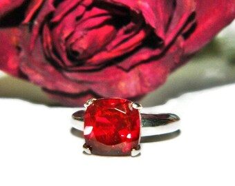 Ring With Red Stone, Sterling Silver Ring, Red Quartz Ring, Statement Ring