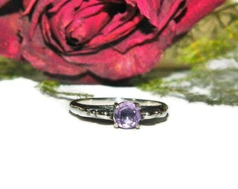 Size 7 Ring, Amethyst Ring, February Birthstone Ring, Sterling Silver Ring With Purple Stone, Simple Ring
