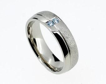 palladium wedding band with blue diamonds modern scratched ring custom wedding man blue diamond ring man wedding palladium light blue - Man Wedding Ring