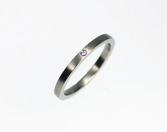 Natural pink diamond wedding ring made from white gold, pink diamond ring, simple wedding band, modern engagement, unique, pink engagement