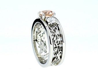 Peach morganite and diamond filigree engagement ring, wide filigree band, white gold, peach engagement, unique, morganite wedding, custom