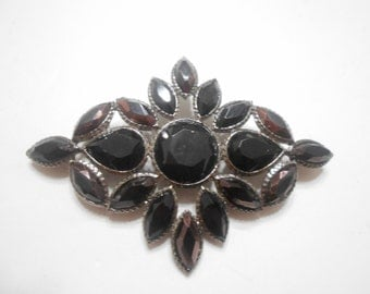 Vintage Liz Claiborne Black Onyx Brooch (2209) With A Hint Of Purple