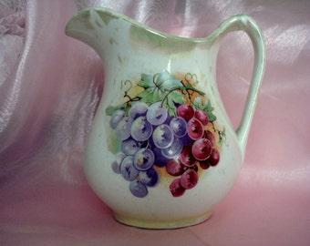 Vintage Pitcher Grapes U.S. Pottery Company Tuscan Style Porcelain