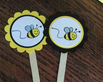 Bee Birthday Party or Baby Shower Cupcake Toppers Set -12