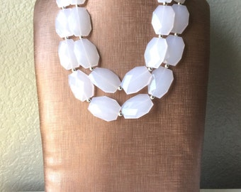 Double Layer White statement necklace with silver accents - bib jewelry cloudy white necklace, white jewelry, white beaded necklace