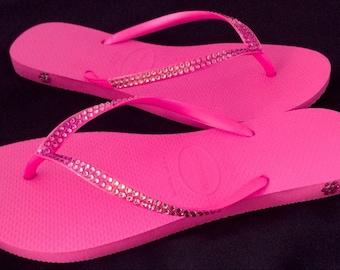 Pink Flip Flops Ombré Crystal Havaianas Slim Hot Fuchsia Shocking Rose w/ Swarovski Rhinestone Bling Jewels Beach Wedding Bride Shoes