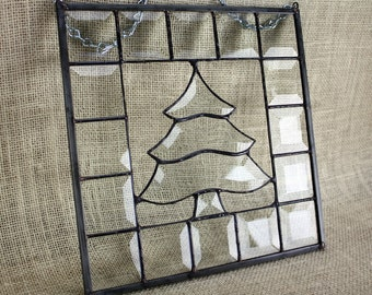 Beveled Glass Tree Panel Stained Glass Suncatcher Holiday Christmas Decor