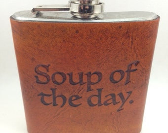 Custom Leather Hip Flask Quote, Gift for him, Mens Flask, 6oz flask, Groomsmen gift, groom gift