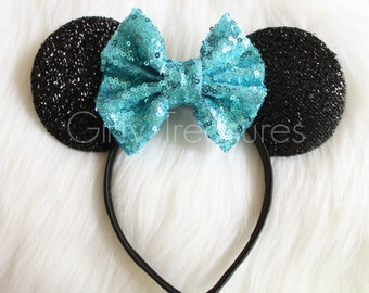 Turquoise Mouse Ears Headband. Sequin Bow Headband.Toddler Headband. Adult Headband. Girls Minnie Mouse Headband. Disney Headband.