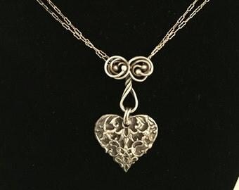 Handmade Art Nouveau Fine Silver Filigree Heart