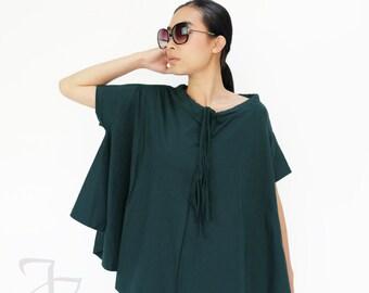 NO.196 Deep Teal Cotton Jersey Boat Neck Tee, Asymmetric Loose T-Shirt, Women's Top