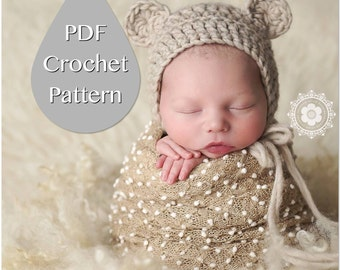 PDF Crochet Pattern #0006 for Newborn Chunky Bear Bonnet, Tutorial, Pattern, Crochet Pattern,Easy, Beginner,Newborn Prop,Instruction,Hat,Boy