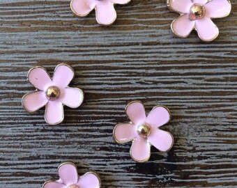 Light Pink and Gold Plated Alloy Flower Cabochons Lot 5 Pcs