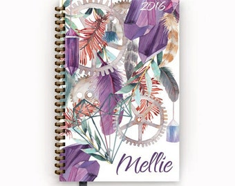2016 2017 Bohemian Personalized Day Planner Calendar Agenda with Purple Collage Feather Crystal Gear Cover