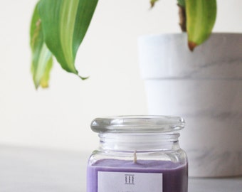 Three Silent Trees | Lavender soy candle | clear square jar