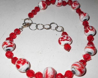Murano Glass necklace acrylic beads red and white silver tone metals vintage 1980s handmade jewelry Free USA Ship