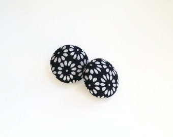Fabric stud earrings black and white flower monochrome jewelry Small print earrings Recycled fabric button earrings lightweight Floral print