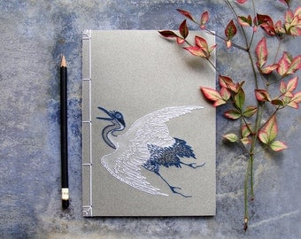 Japanese Crane Journal. Embroidered Notebook. Crane Bird Notebook. Stitched Journal. Japanese Journal. Ukiyo-e Journal. Stab Bound Notebook