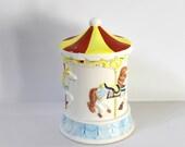 Vintage Willitts Musical Merry-Go-Round Cookie Jar, Carousel Waltz