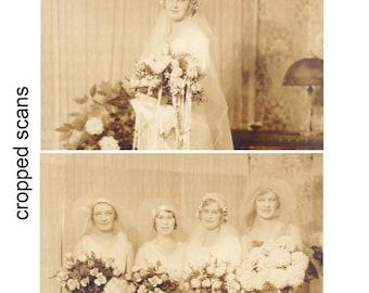 Vintage 1920s Formal Wedding Sepia Portraits Bride and Bridesmaids, Flapper Girl Wedding, Swedish Wedding Memorabilia, Roaring 20s Wedding