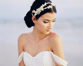 Gold Bridal Headpiece. Gold Bridal Hair Accessory. Gold Bridal Hair Vine {Anastasia}