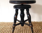 Victorian Claw Foot Piano Stool with Swivel Seat and Spool-Turned Legs