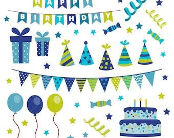 Happy Birthday Clip art, Boys Birthday clipart, Birthday Cake Graphic, Boy, Invitation, Bday - Commercial & Personal - Instant Download