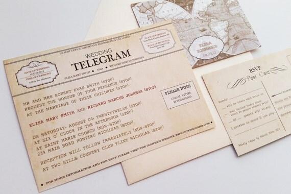 Vintage Wedding Invitation - Vintage telegram wedding invitation set {New York design}