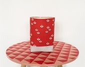 Fabric storage basket - red, pink and white scandi style flowers - plant pot cover - nursery storage - handmade home