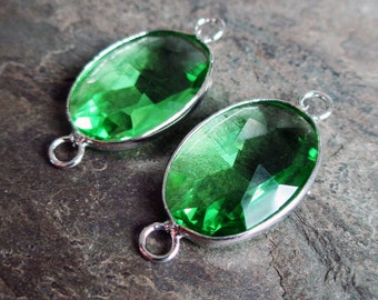 green glass connectors faceted clear silver toned two loop jewelry link earring supply component, 1 pair