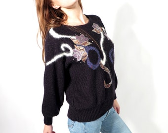 Vintage Black Embroidered Sweater