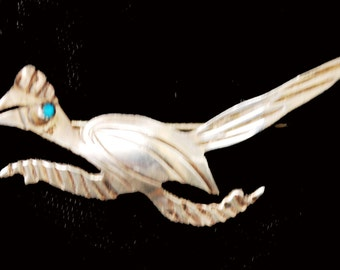 Road Runner Brooch -Silver Turquoise - Southwestern - Old Pawn  - Native American Bird  pin