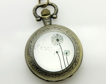 Necklace Pocket watch three Dandelions
