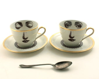 Set of 2 Altered Vintage  Cups Porcelain Coffee Espresso Lace Collar Saucers Face Lina Cavalieri Geekery Vintage Romantic Gold Rim Whimsical