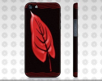 iPhone 5 Cases, Artsy iPhone 5 Cases, Black iPhone 5 Case Red Leaf Art, Protective iPhone Case Fits iPhone 5/5S, Artist Designed, Custom