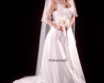 2 Tier Wedding Veil Cathedral with Rhinestones hand made bridal veil - white, ivory, diamond white or champagne
