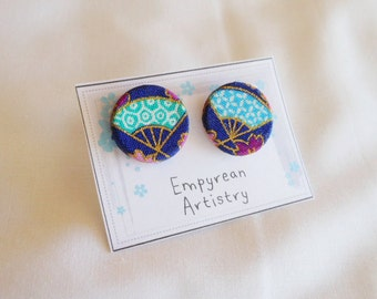 Japanese Fan Stud Earrings - Handmade Wood & Fabric Earrings - Japanese Inspired Jewelry - Japanese Fabric - Asian Jewelry - Asian Earrings