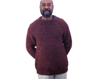 Vintage Hand Knit Raglan Pullover, 80s Handmade Men's Wool Sweater, Burgundy Cable Knit Sweater, Heavyweight Warm Chunky Sweater M