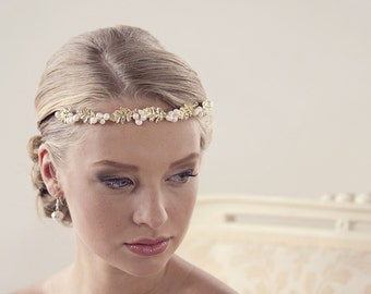 Gold headband Bridal Wedding tiara Bridal headpiece Bridal tiara Wedding headpieces Gold headpiece Hair accessories Grecian headpiece