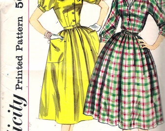 """Vintage 1957 Simplicity 2224 One-Piece Dress Sewing Pattern Size 14 Bust 34"""""""