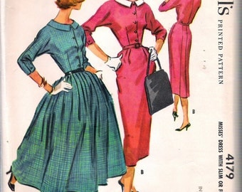 """Vintage 1957 McCall's 4179 Misses' Shirtwaist Dress with Slim or Full Skirt Sewing Pattern Size 12 Bust 32"""" UNCUT"""