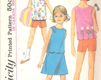 Vintage 1965 Simplicity 5992 Girls' Top, Skirt & Shorts Sewing Pattern Size 10 Breast 28""